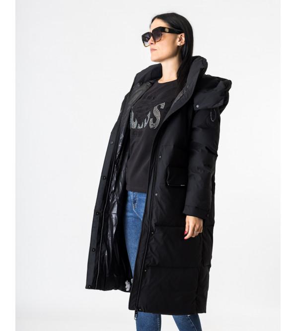 Пуховик жіночий чорний з кишенями TOWMY