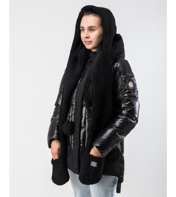 Пуховик жіночий чорний теплий короткий