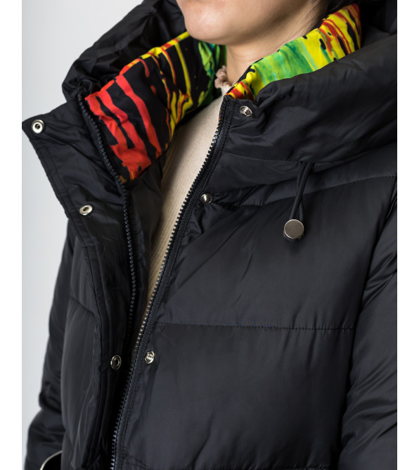 Пуховик жіночий Peercat чорний довгий теплий