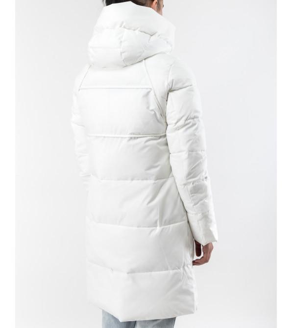 Пуховик жіночий білий теплий довгий
