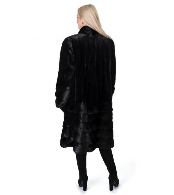Шуба жіноча норкова чорна трансформер поперечна довга стійка