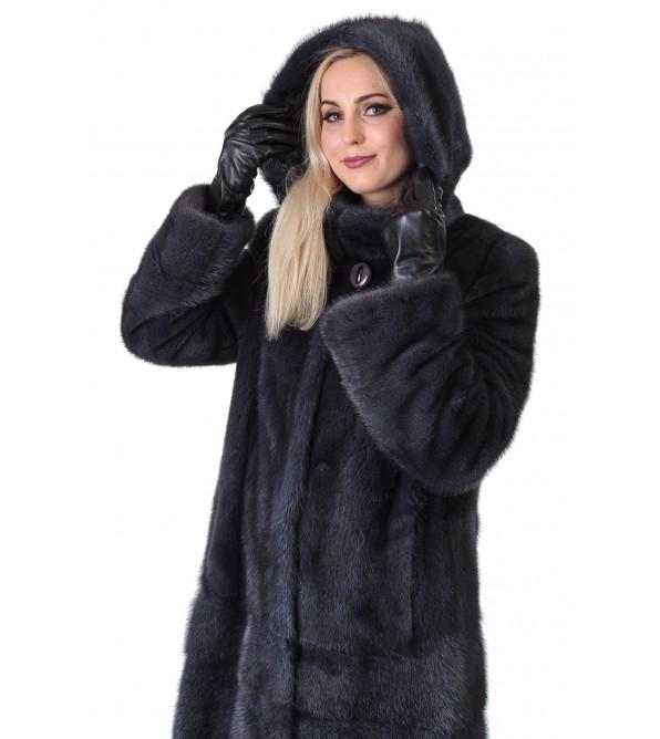 Шуба жіноча норкова сіра поперечна довга капюшон
