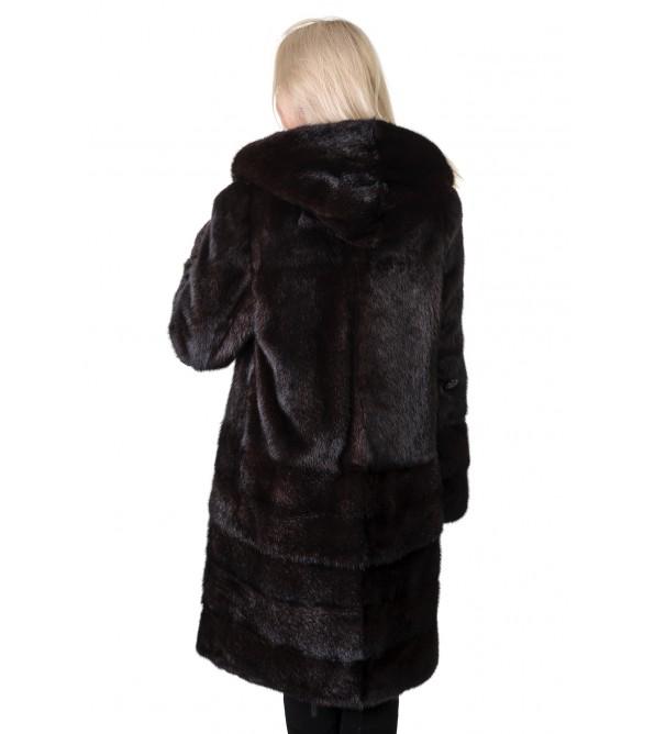 Шуба жіноча норкова коричнева поперечна довга капюшон