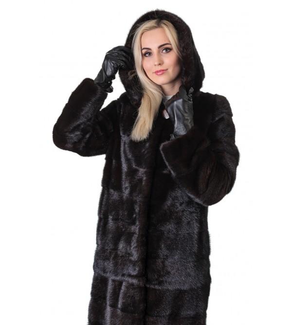 Шуба жіноча норкова коричнева трансформер поперечна капюшон