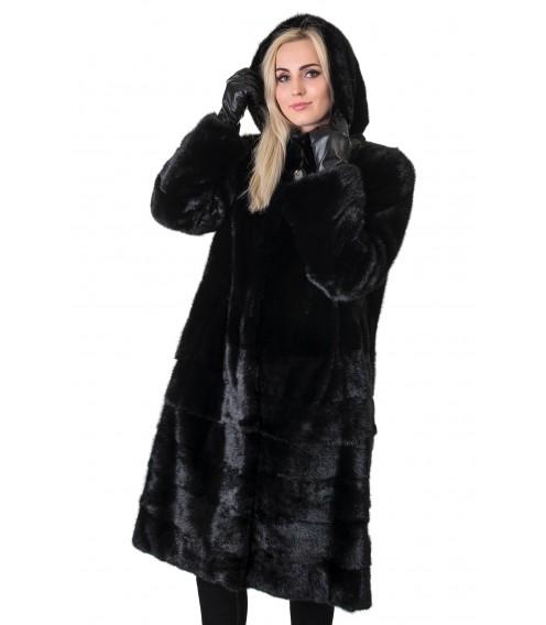 Шуба жіноча норкова чорна трансформер поперечна довга капюшон