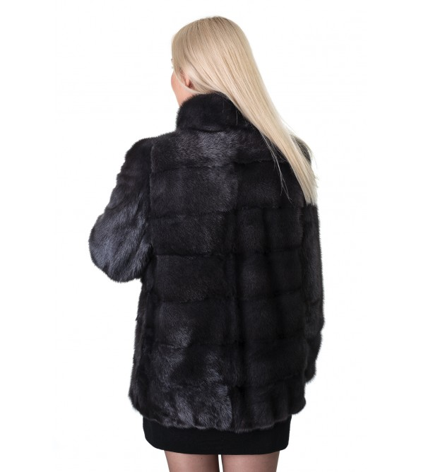 Шуба жіноча норкова сіра поперечна коротка стійка