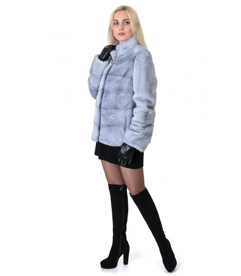 Шуба женская норковая голубая поперечная короткая стойка