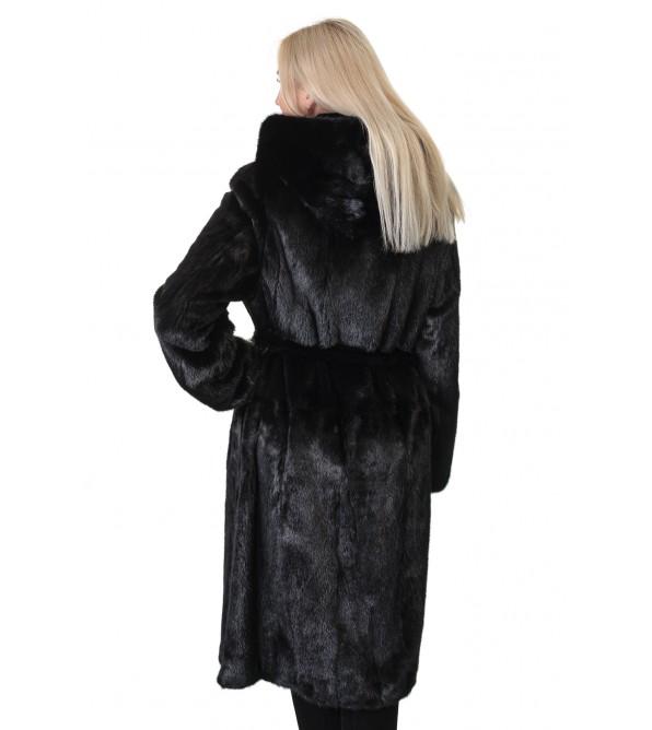 Шуба жіноча норкова чорна гладка довга капюшон пояс