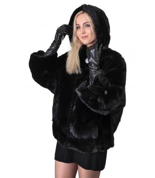 Шуба жіноча норкова чорна поперечна коротка капюшон літуча мишка