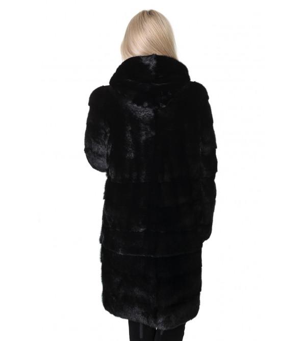 Шуба жіноча норкова чорна трансформер поперечна капюшон