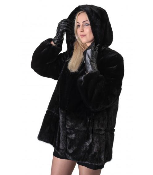 Шуба жіноча норкова чорна гладка коротка капюшон
