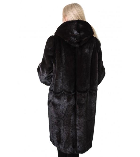 Шуба жіноча норкова коричнева гладка довга капюшон