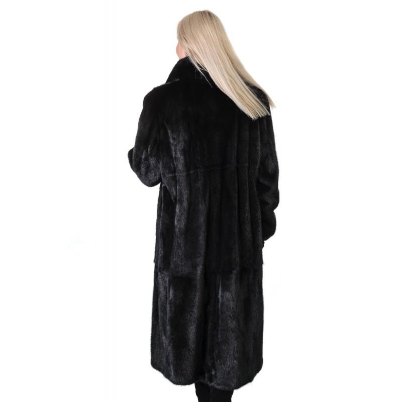 Шуба жіноча норкова чорна гладка довга комір