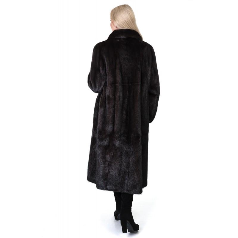 Шуба жіноча норкова коричнева гладка довга комір