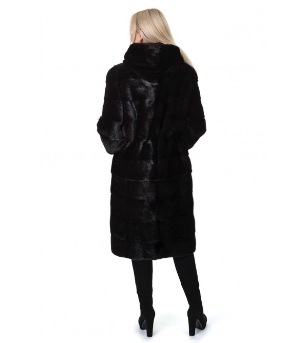 Шуба жіноча норкова коричнева трансформер поперечна довга капюшон