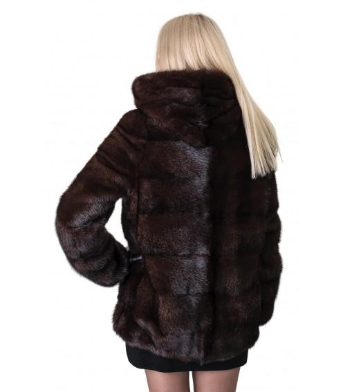 Шуба женская норковая коричневая трансформер поперечная капюшон