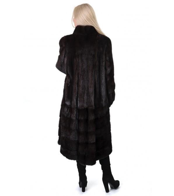 Шуба жіноча норкова коричнева довга  поперечна стійка