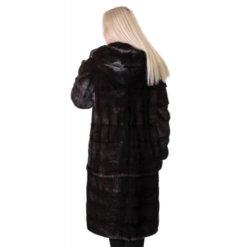 Шуба жіноча норкова коричнева трансформер довга капюшон