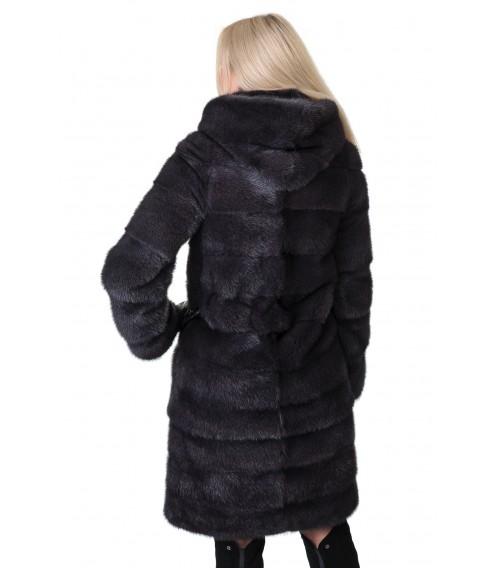 Шуба жіноча норкова сіра трансформер поперечна капюшон