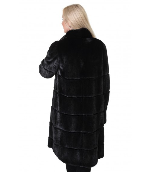 Шуба жіноча норкова чорна поперечна довга стійка