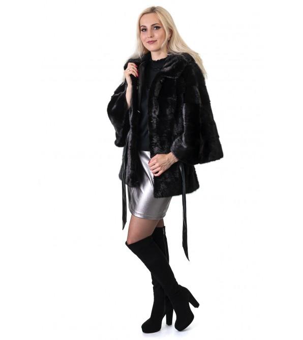 Шуба жіноча норкова чорна  поперечна капюшон пояс