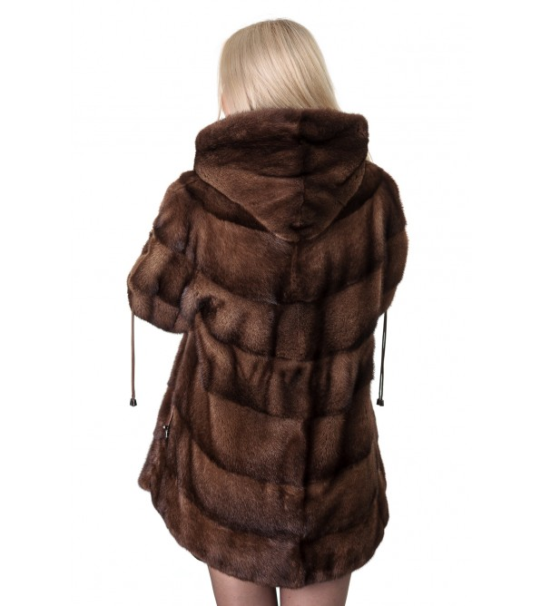 Шуба жіноча норкова  коричнева поперечна капюшон