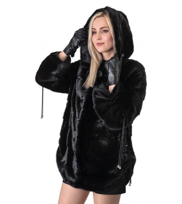 Шуба жіноча норкова чорна поперечна коротка капюшон