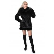 Шуба женская норковая черная гладкая капюшон низ патент