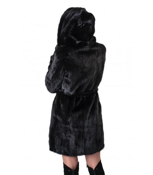 Шуба жіноча норкова чорна гладка капюшон пояс
