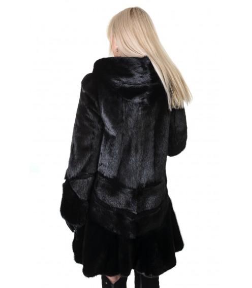 Шуба жіноча норкова чорна  капюшон платтячко