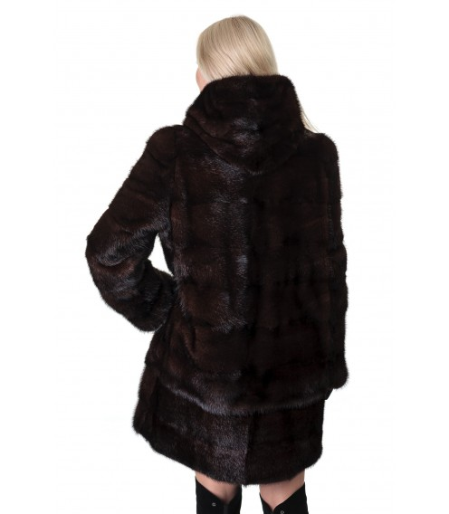 Шуба жіноча норкова коричнева трансформер  капюшон
