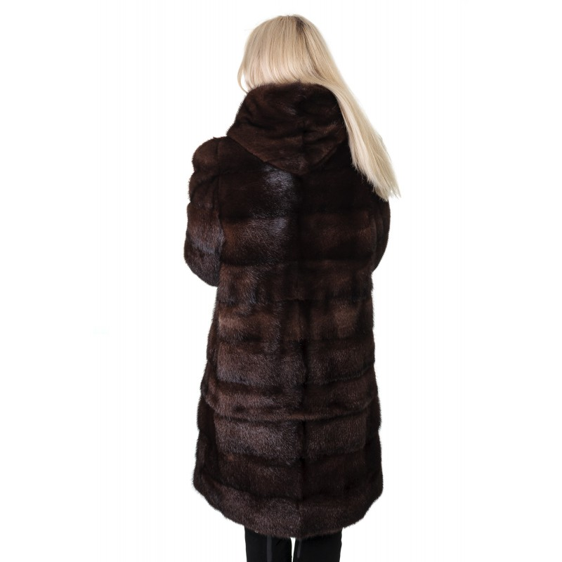 Шуба жіноча норкова коричнева поперечна трансформер капюшон