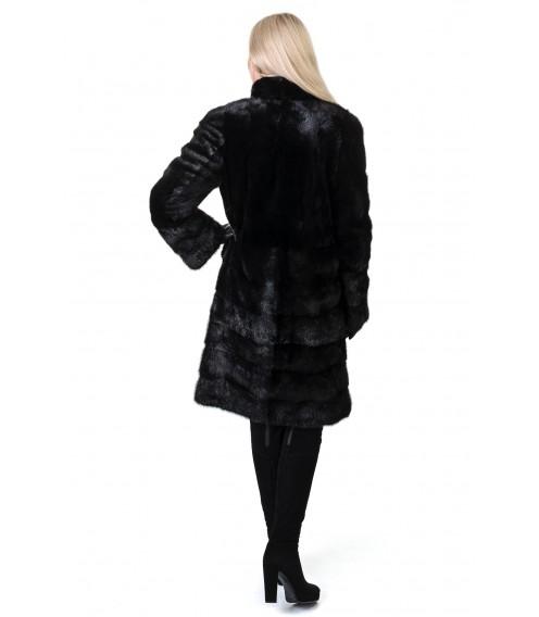 Шуба жіноча норкова чорна трансформер поперечна стійка