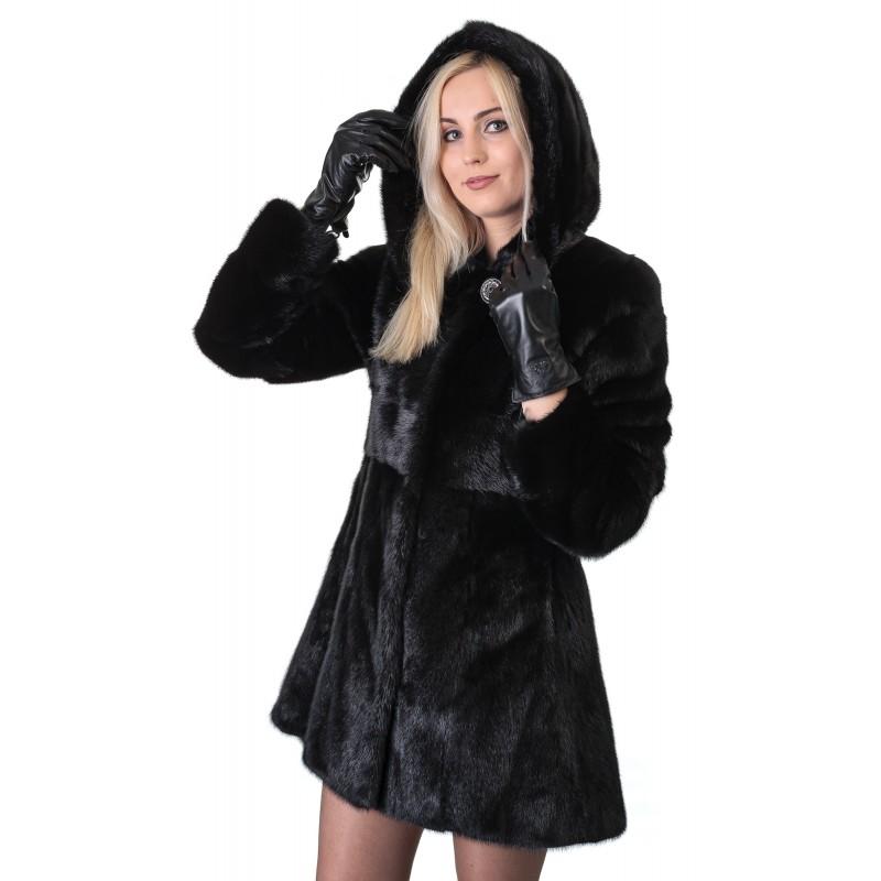 Шуба жіноча норкова чорна гладка капюшон платтячко