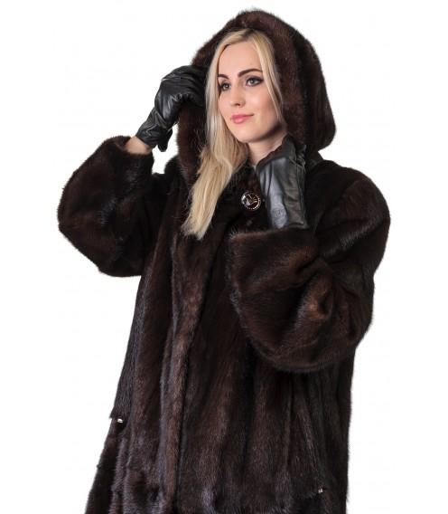 Шуба жіноча норкова коричнева поперечка довга капюшон
