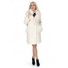 Пальто-кардиган молочного цвета из альпаки женское с натуральным мехом осеннее до колен