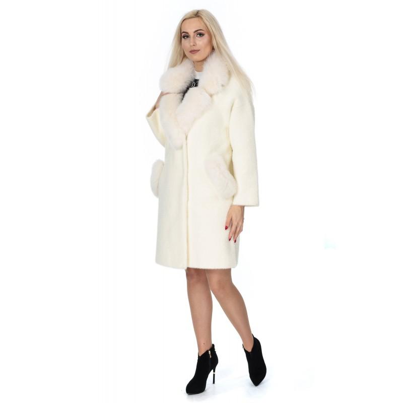 Пальто-кардиган молочного кольору з альпаки жіноче з натуральним хутром осіннє до колін