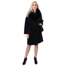Пальто-кардиган черное из альпаки женское с натуральным мехом осеннее до колен