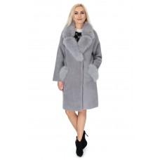 Кардиган серого цвета из альпаки женское с натуральным мехом осеннее до колен