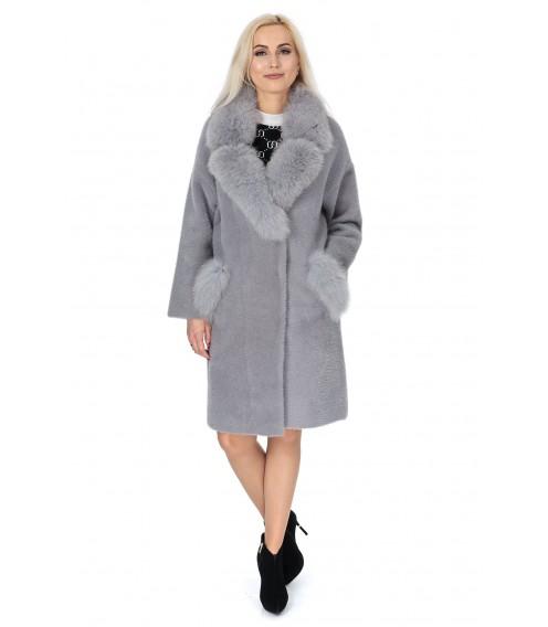 Кардиган сірого кольору з альпаки жіноче з натуральним хутром осіннє до колін