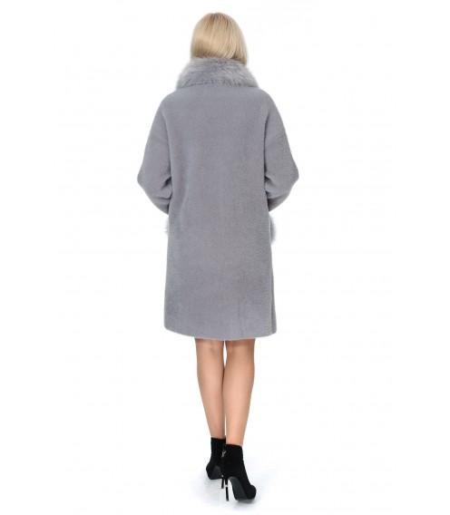 Пальто-кардиган сірого кольору з альпаки жіноче з натуральним хутром осіннє до колін