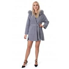 Пальто-кардиган из альпаки женское серое с натуральным мехом осеннее выше колен