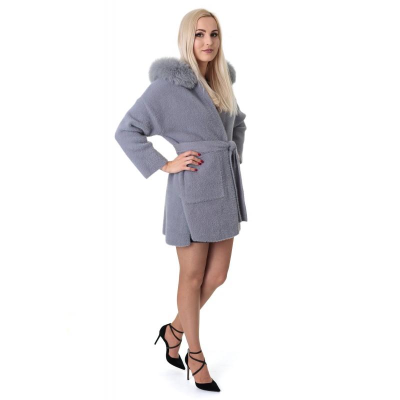 Пальто-кардиган з альпаки жіноче сіре з натуральним хутром осіннє вище колін
