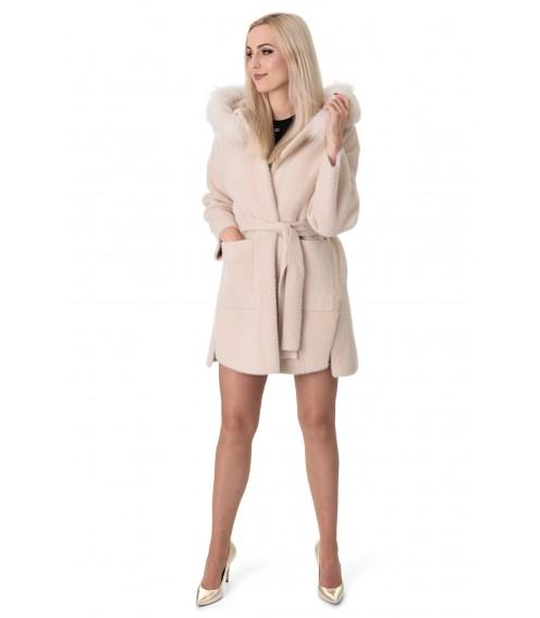 Пальто-кардиган з альпаки жіноче молочне з натуральним хутром осіннє вище колін