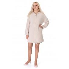 Пальто-кардиган из альпаки-женское молочное с капюшоном с длинным рукавом выше колен