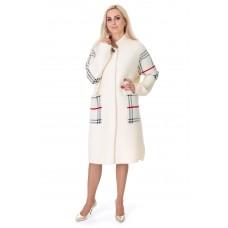 Платье-пальто женское молочного цвета с красными полосками на длинный рукав до колен на пуговицы