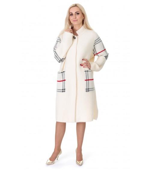 Кардиган-пальто жіноче молочного кольору з червоними полосками на довгий рукав до колін на гудзики
