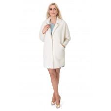 Платье-пальто женское молочного цвета с длинным рукавом выше колен на пуговицы
