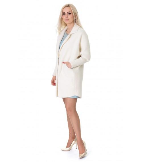 Кардиган-пальто жіноче молочного кольору на довгий рукав вище колін на гудзики
