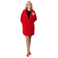 Платье-пальто женское красного цвета с длинным рукавом выше колен на пуговицы